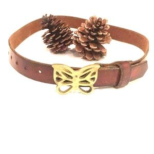 Accessories - VTG Brass butterfly buckle & brown leather belt